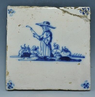 Early 18Th Century Delph Tile Depicting Female In Period Dress (930H)