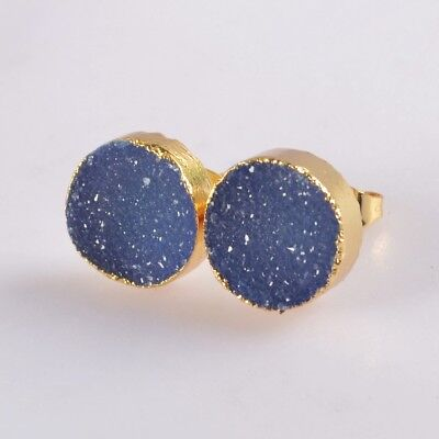 12mm Round Blue Agate Druzy Geode Stud Earrings Gold Plated H129134