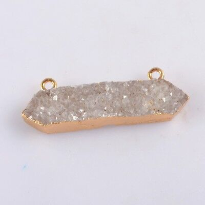 Natural Agate Druzy Geode Connector Gold Plated B076136