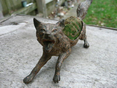 Antique Austrian ? Fox Bronze Pin Cushion Bergman Manner Of