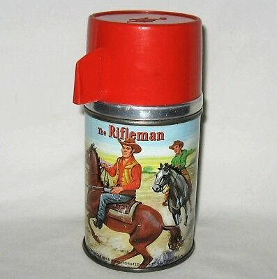 1960 The Rifleman Thermos for Lunch Box, Aladdin, Western Cowboy Four Star Prod.
