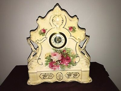 Nice Edwardian Ceramic Mantel Clock With Floral Pattern & Gilt Decoration