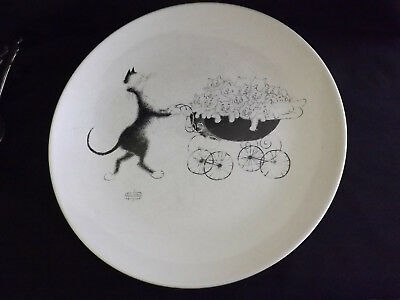 Albert Dubout Cat w/ Lots of Kittens Dinner Plate