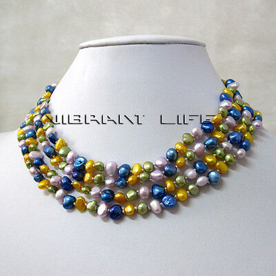 """61"""" 4-6mm Multi Color Baroque Freshwater Pearl Necklace Fashion Jewelry"""