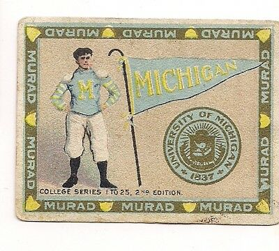 1910 Murad College Sports card +100yrs University Michigan FIRST FOOTBALL CARD?