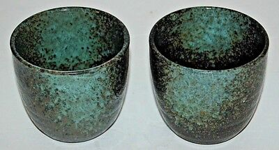 Tea Cups, Bowls, with Hint of Green on One Side, Japanese, Signed