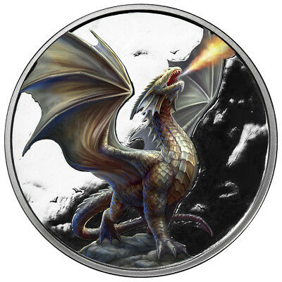 5 Oz Silver Coin Anne Stokes Dragon Coin Colorized Noble Dragon 3Rd In Series