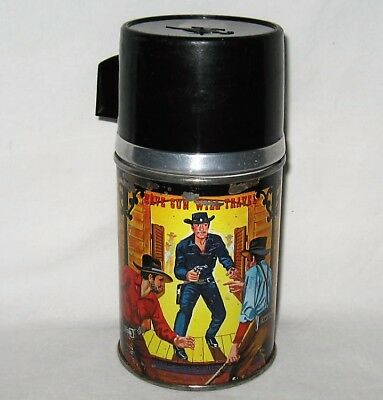 """1960 Paladin """"Have Gun Will Travel"""" Thermos for Lunch Box, CBS, Aladdin"""