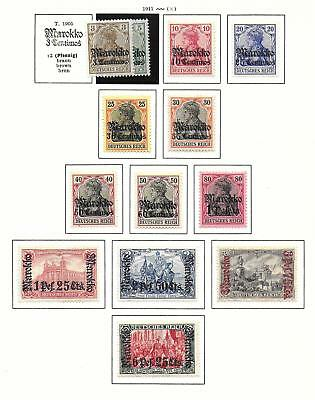 German Morocco stamps 1911 Collection of 13 CLASSIC stamps HIGH VALUE!