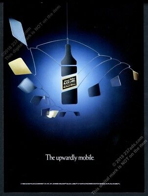 1988 Johnnie Walker Black Scotch Whisky bottle mobile art vintage print ad