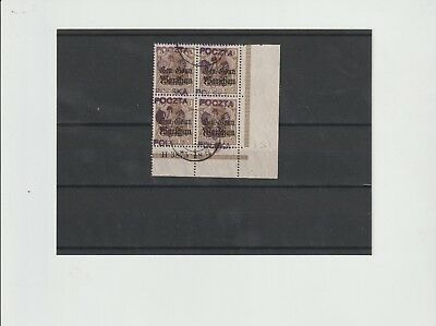 Poland, 3pf eagle o/p block of 4 with Han number (S12)