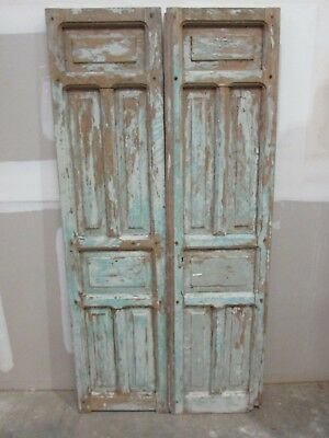 Antique Pair Mexican Old-Primitive-Rustic-39x79-Barn Doors-Pine-Turquoise