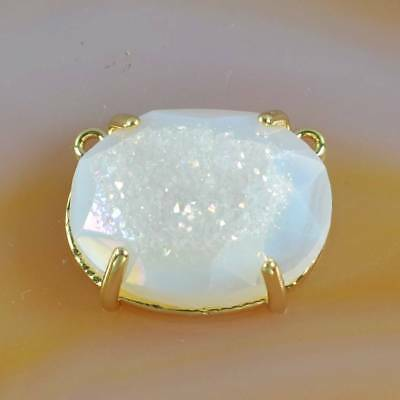 Natural Agate Druzy Titanium AB Faceted Claw Prong Connector Gold Plated H122126