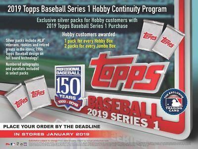 2019 Topps Series 1 Baseball (01/30) Factory Sealed Hobby Box with 1 Silver Pack
