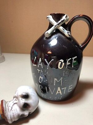 "Jug with Skull and Crossbones ""Lay Off, This is The Old Man's Private Poison"""
