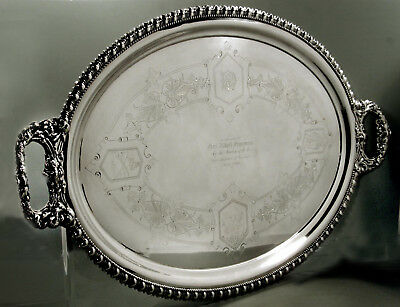 Brown Russell Silver Tray    1869  First Battalion Cavalry  - 176 Oz.