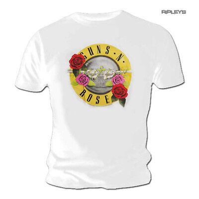 Official T Shirt GUNS N ROSES Pink Red Roses Classic BULLET White All Sizes