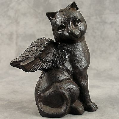 WINGED CAT ANGEL Cast Iron STATUE  ~ MEMORIAL MARKER ~