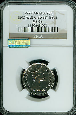 1977 Canada 25 Cents Ngc Mac Ms68 Pq Finest Registry Spotless  *