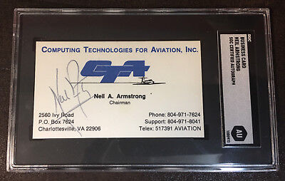 Neil Armstrong Rare Signed Autographed Business Card - Apollo 11