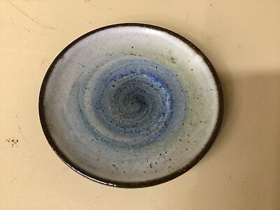 """Vintage Esther SILLS Red Clay ART Pottery Redware Saucer Small 4 1/2"""" Blue Brown"""