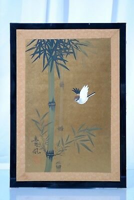 Vintage Japanese Chinese Asian Oriental Bird Bamboo in Black Frame Painting
