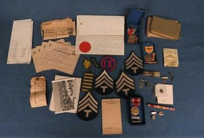 WWII Military Lot-60+ Letters, Medals, Patches, Pins, Rations Books