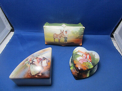 3 Antique Porcelain Trinket or Jewelry Boxes