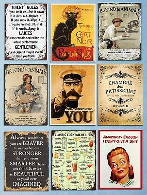 Metal signs plaques vintage retro style Toilet rules Kind to animals wall decor