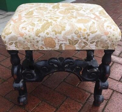 Antique Upholstered Rococo Baroque French Country Carved Stool