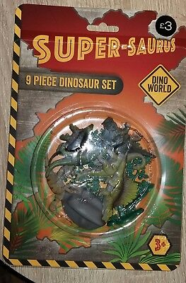 Matalan 9 piece dinosaur set - Dino World Super-Saurus pack of dinosaurs BNIP