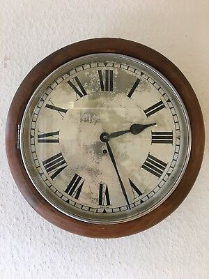 Large Vintage Antique Industrial Mid Century Wooden Wall Clock