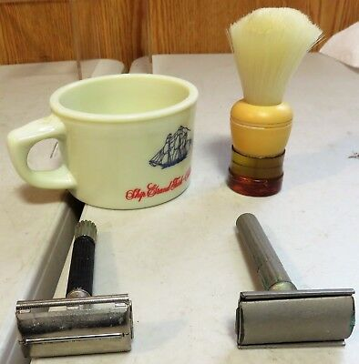 Shaving Collectibles Old Spice Mug,made Rite Shaving Brush And 2 Gillette Razors
