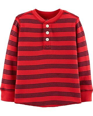 OshKosh B'Gosh Toddler Boys Red / Blue Striped Thermal Henley Shirt NWT