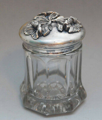 Antique Octagon Crystal Silverplate Repousse Flower Glass Jar Humidor Vanity