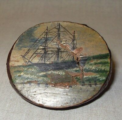 Antique Hand Painted Corozo/Tagua Nuts, Maritime Paintings, 1899-1901