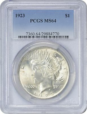 1923 Peace Silver Dollar MS64 PCGS Light Golden Toned on Reverse