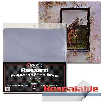 10 loose BCW Record Sleeves Resealable Plastic Bag Outer 33 RPM LP Covers Album