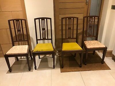 Delightful set of 4 Edwardian chairs in need of new seats covers.