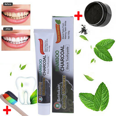 Teeth Whitening Powder Organic Activated Charcoal Bamboo Toothpaste+ Brush L