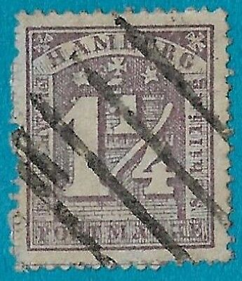 + 1864 Hamburg German States Arms Tower Castle Stars Schloss #22 A2 1-1/4s used