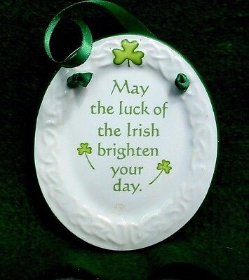 MINI Celtic Wall plaque MAY LUCK OF THE IRISH BRIGHTEN YOUR DAY Xmas Ornament