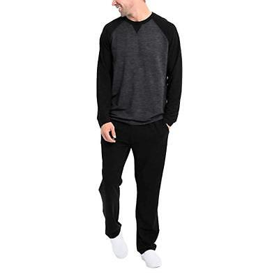 NEW-Orvis Men's 2 Piece Lounge Set Pajamas Black Charcoal Heather,Size:XX-Large