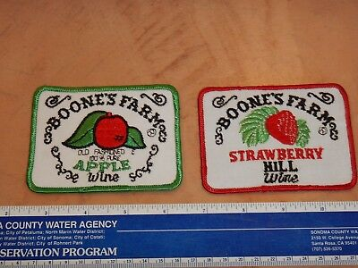 LOT OF 2 ORIGINAL 1970s BOONE'S FARM STRAWBERRY HILL & APPLE WINE PATCHES, NOS