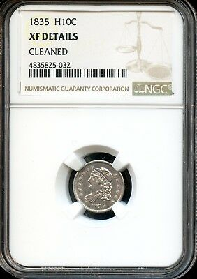 1835 H10C Ngc Xf Details(Extra Fine Details) Cleaned Capped Bust Half Dime Sh749