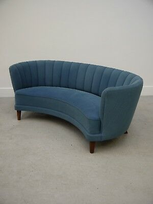 1940s VINTAGE ORIGINAL ART DECO CURVED DANISH CABINET MAKERS SOFA MADE DENMARK