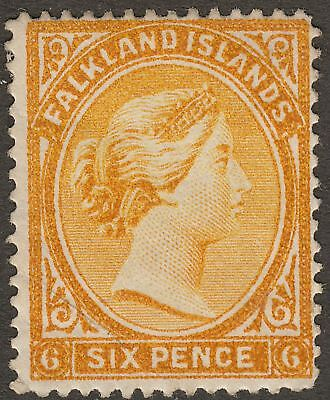 Falkland Islands 1891 QV 6d Orange-Yellow wmk Reversed Mint SG33x faults