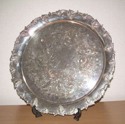 Silver plate tray Walker and Hall E.P.C.Platter 14 inch Grapes Heavy gauge