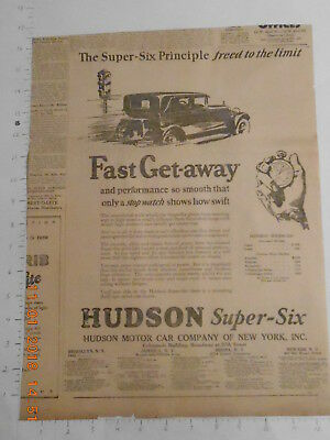 1925 Hudson Motor Car Co NY Super-Six vintage newspaper car AD Interwoven socks