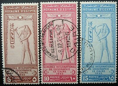 Egypt 1925 International Geographical Congress, Cairo Stamp Set - Fine Used